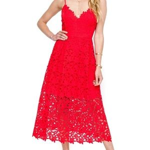Brand New Lipstick Red Midi Dress